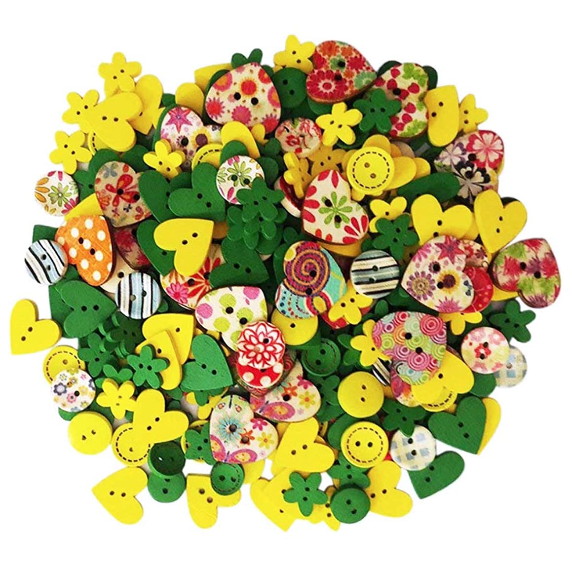 Happlee 100Pcs Wooden Buttons in Bulk Mixed Colors & Shapes, Wood Sewing Buttons for Sewing, Collections, Arts & Crafts Projects, Scrapbooking, DIY Decoration and More(Colorful)