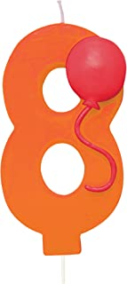 "Creative Converting Numerical Balloon Candle, 3"", Orange"