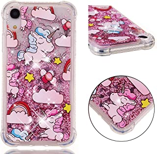 """iPhone XR case Glitter AIKIN Clear Bling Floating Flowing Liquid Sparkle Shockproof Waterfal Soft TPU Cute Girly Luxury Quicksand Case Compatible with Apple iPhone XR 2018 6.1"""" (Pink Horse)"""