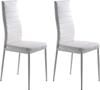 Miroytengo Pack 2 sillas Clady Comedor Salon Blanco Moderno Cocina Estilo contemporaneo Polipiel 98x47x41
