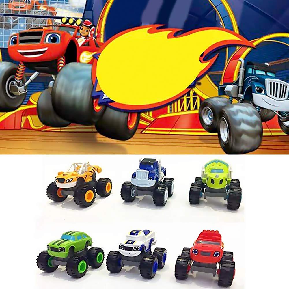 Pywee 6 Pack Transformers Blaze The Monster Machines - Juego de 6 Piezas de Juguete para Coches de camión: Amazon.es: Hogar