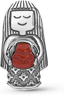 Sterling Silver Native Woman with Red Jasper Stone Pottery Necklace Enhancer Pendant, 1-5/8