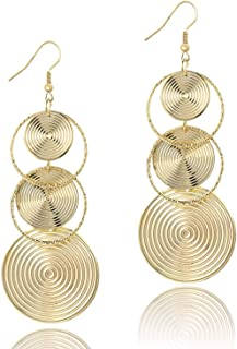 Women's Gold Dangle Chandelier Earrings Filigree Tiered Hollow Cutout Earrings for Party Prom xMAS Holiday