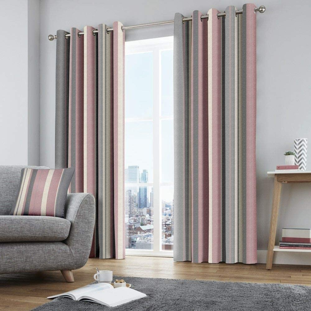 "Fusion - Whitworth Stripe - 100% Cotton Pair of Eyelet Curtains - 66"" Width x 90"" Drop (168 x 229cm) in Blush Blush Curtains: 66"" Width x 90"" Drop (168 x 229cm)"