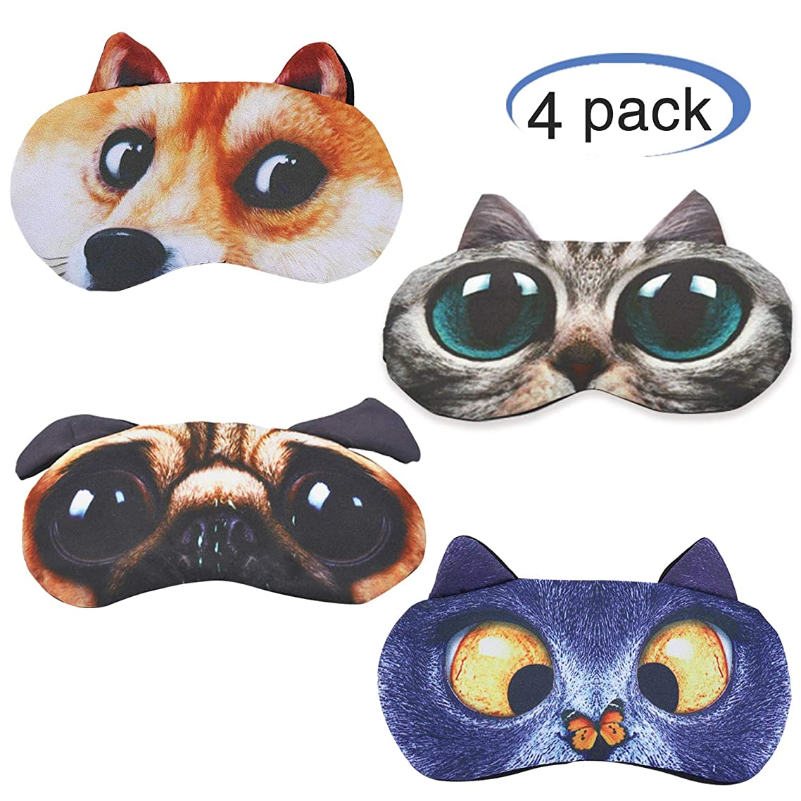 Hycles Funny Sleep Mask for Kids Women Men Soft Eye Cover Blindfold Mask Cute Animal Cartoon Cat Dog Sleep Eye Mask for Sleeping 4 Pack