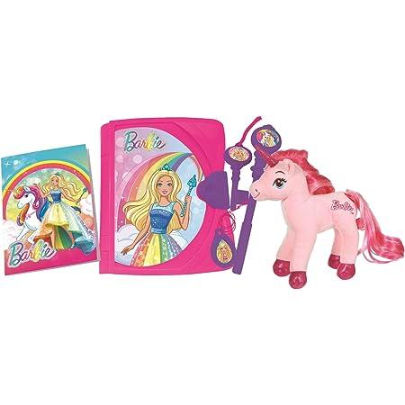 Lexibook- Mattel Barbie, Journal Intime électronique Lumineux et sonore avec Licorne en Peluche, carnet, clé, Stylo et médaillon Magiques, Jouet pour Filles, Rose/Violet, SD15BBY