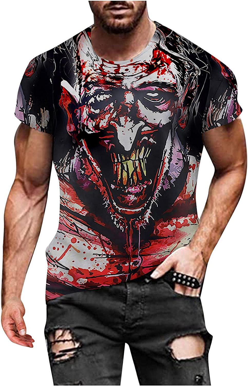 Aayomet Men's T-Shirts Halloween Graphic Long Sleeve Crewneck Sweatshirts Workout Sport Casual Tee Shirts Blouses Tops
