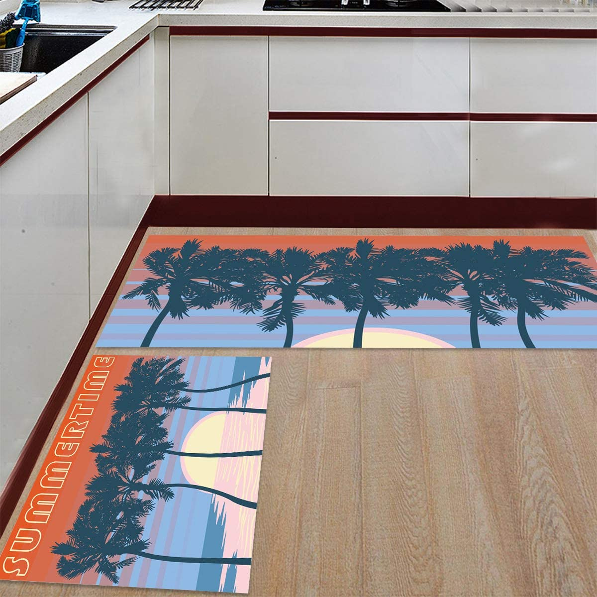 2 Pieces Anti-Slip Kitchen Houston Mall Mats Evening and Trees En Sunset Wave Indefinitely