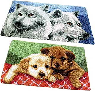 Prettyia 20x12 inch Latch Hook Rug Kits - Wolf and Puppy - Carpet Making