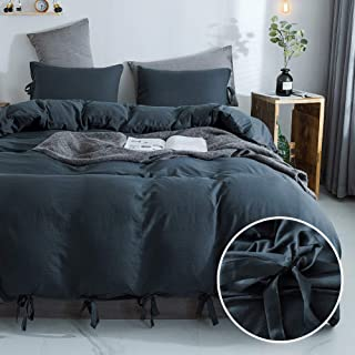 annadaif Grayish Duvet Cover Queen(90x90 Inch), 3 Pieces (2 Pillowcase,1 Duvet Cover) Ultra Soft Washed Microfiber Bowknot Bow Tie Duvet Cover Set, Easy Care Bedding Set for Men, Women
