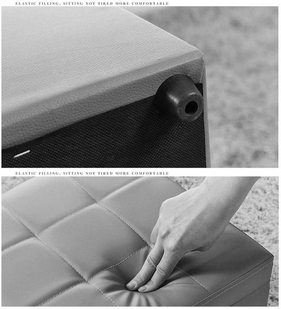 YUMUO Rangement Tabouret Table à Langer Banc Pratique PU Similicuir Pouf Rembourré Pouf Pouf Simple Pouf Cube Cube Boîte (Couleur: Blanc, Taille: 40 x 40 x 40 cm) 4