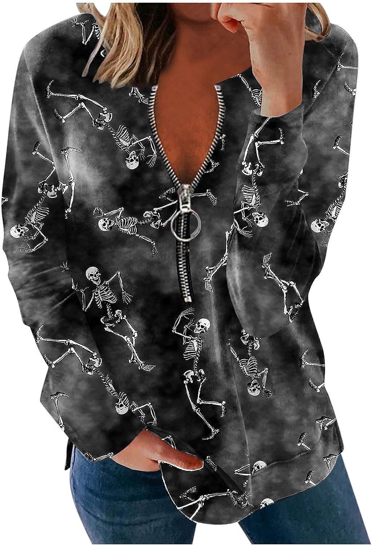 AODONG Halloween Sweatshirts for Women,Womens Long Sleeve Funny T-Shirts Zipper Casual Tunics Pullover Tops Sweater