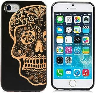 iPhone 6/6SPlus Wooden Case,iPhone 7/8Plus Wooden Case, Natural Black Wood Case Cover Soft TPU Protective Rubber Bumper Carving Pattern Compatible iPhone 6/6Splus/7plus/8plus B Skull Head