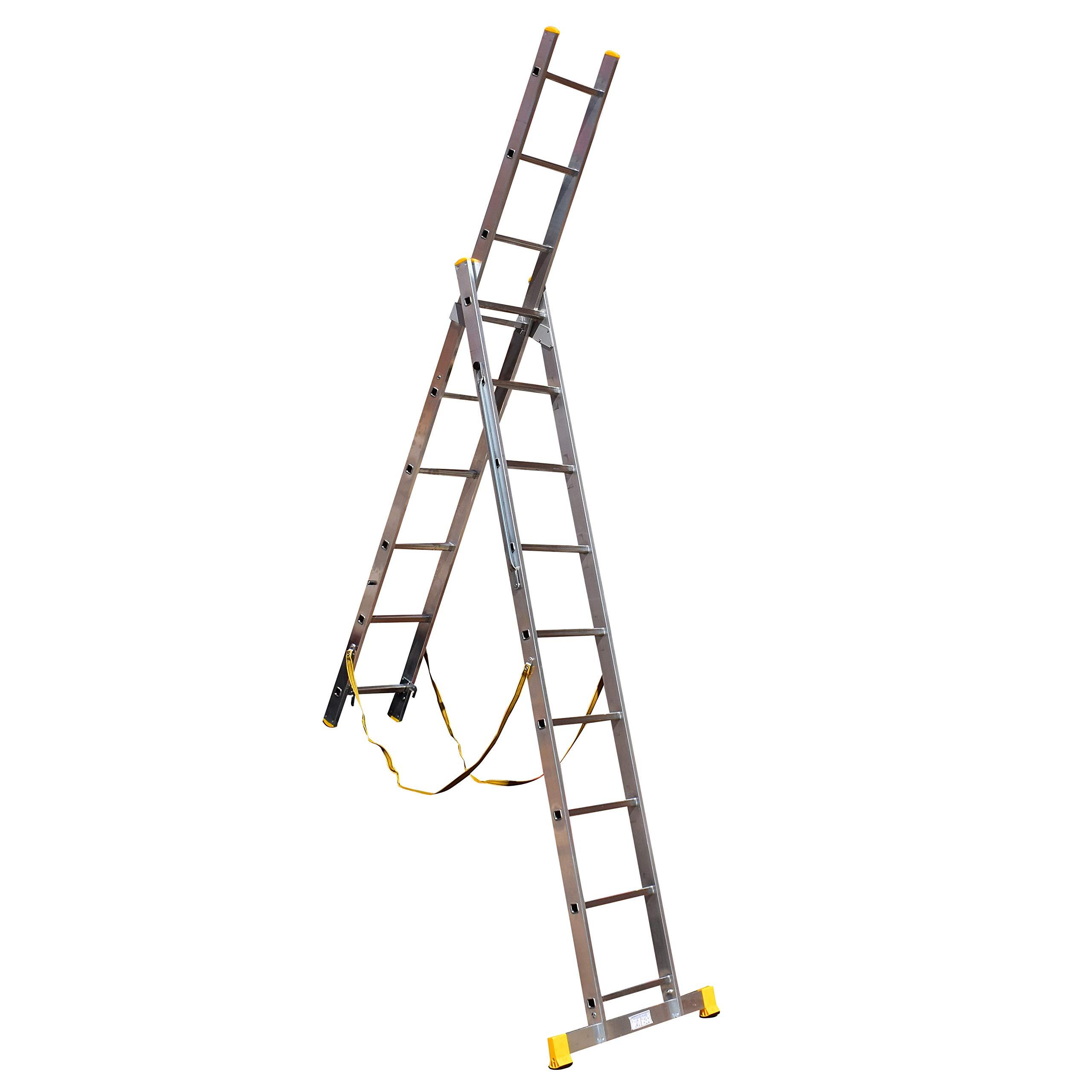 9 escalones 2 sección escaleras combi-all-in-one escalera extensible, escalera y pie escalera: Amazon.es: Bricolaje y herramientas