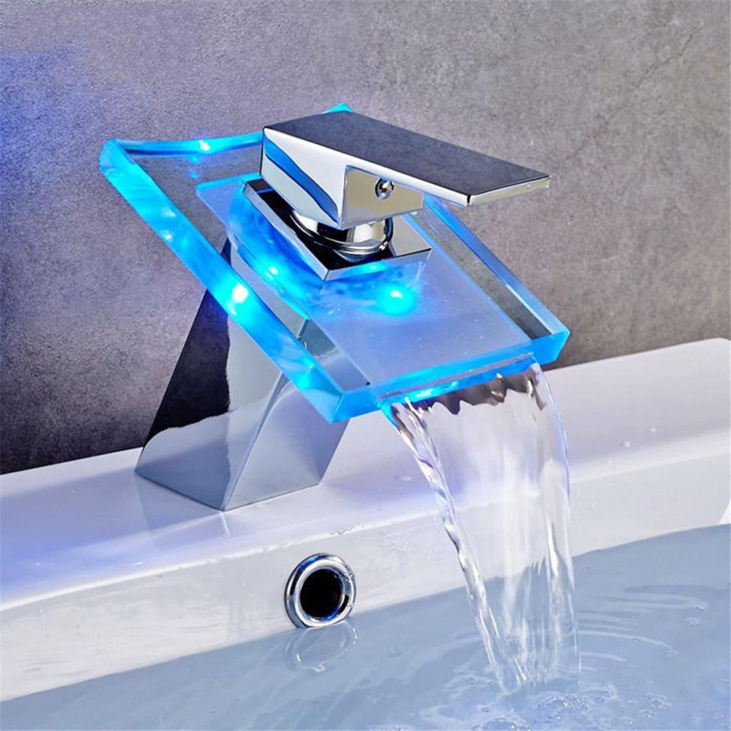 Lpophy Bathroom Sink Mixer Taps Faucet Bath Waterfall Cold and Hot Water Tap for Washroom Bathroom and Kitchen Led Hot and Cold Water Single Handle Copper Temperature Control color Change