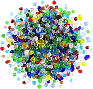 Swpeet 1 Pound Multicolor Lampwork Glass Small Tumbled Chips Stone Gemstone Chips Crushed Pieces Irregular Shaped Stones Crystal Chips Stone Perfect for Jewelry Making Home Decoration