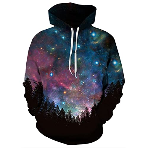 4259efeb9878 Hulaha Mens Womens Unisex 3D Printed Galaxy Pattern Plus Size Hoodied  Sweatshirt