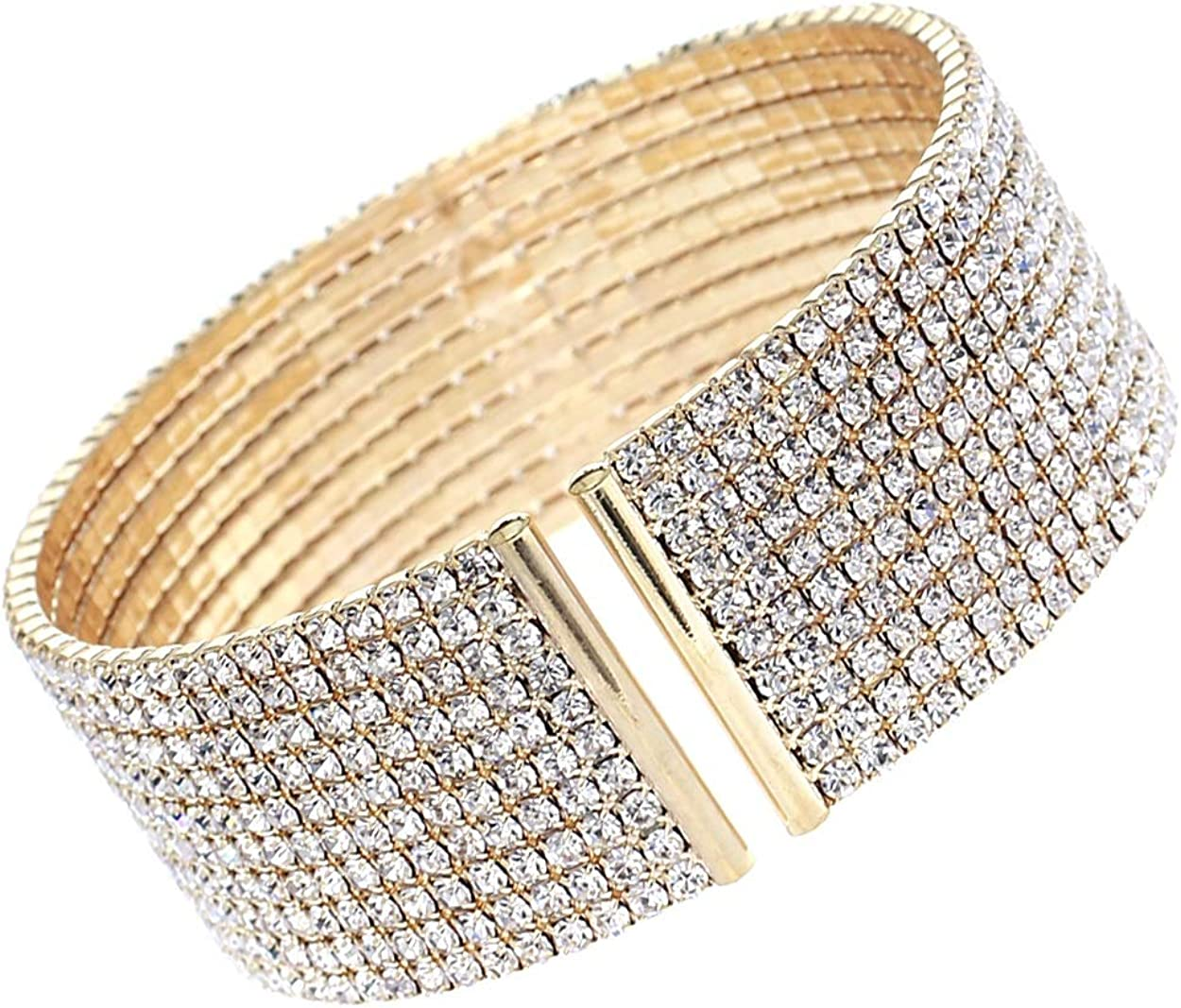 Arsimus 10 Row Clear Bracelet Cuff Lowest price Complete Free Shipping challenge Rhinestone Crystal