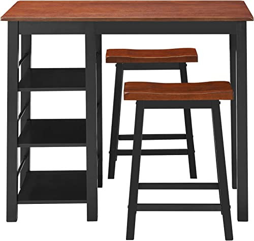 wholesale Giantex discount 3 Piece Dining Set, Entirely sale Wood Counter Height Table Set with 2 Chair and 3-Tier Storage Shelves, Small Kitchen Table Set with Rubber Wood Frame, Breakfast Table for Small Space, Apartment outlet online sale