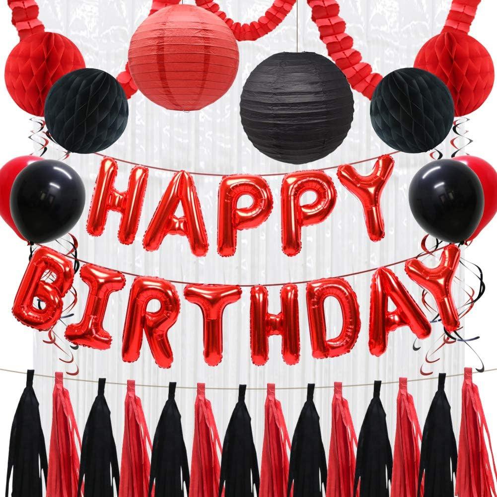 Happy Birthday Balloons Nashville-Davidson Mall Decorations Banner Women 1 year warranty Girls Red for