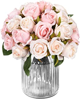Artificial Rose Bouquets Flower, Artificial Silky Flowers with 12 Heads Rose, Roses Artificial Flowersfor DIY Wedding Bouquets Centerpieces Bridal, Party, Festival, Bar, Home Patio Yard Decor, 2pcs