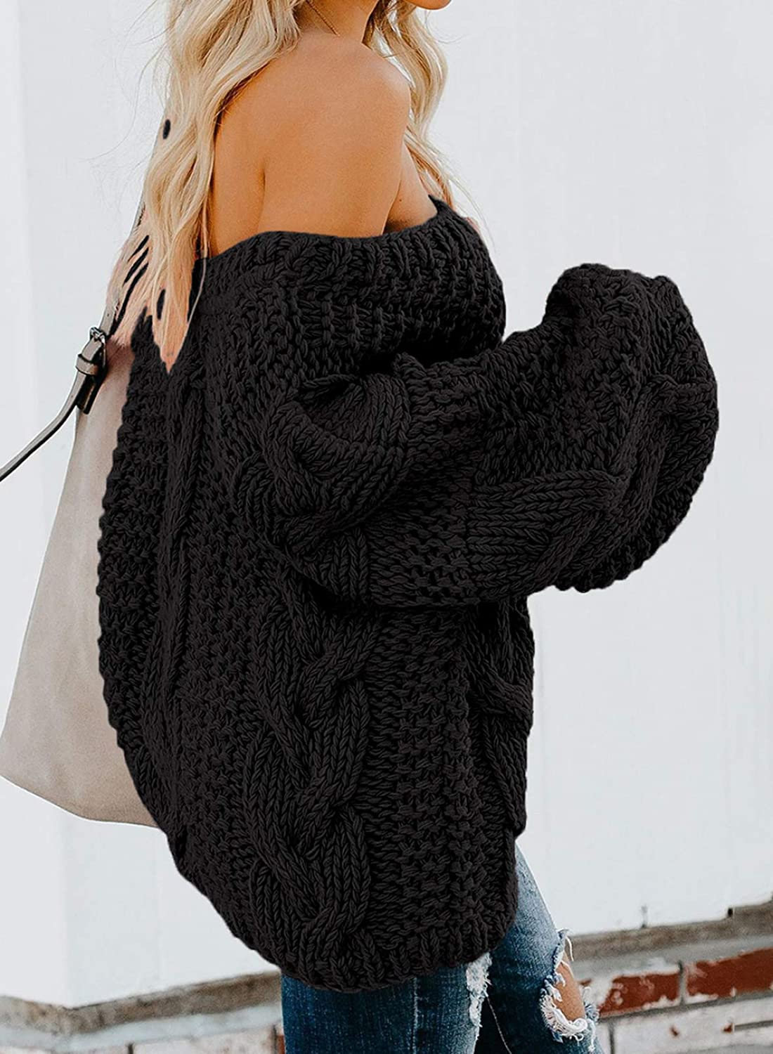 Astylish Womens Sexy Long Sleeve Off Shoulder Loose Cable Knit Pullover Sweater