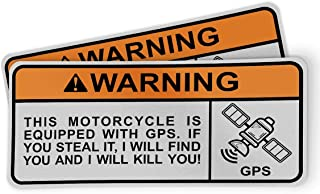 Funny Warning Sticker for Motorcycles, Riders and Gifts - This Motorcycle is Equipped with GPS. If You Steal It, I Will Find You and I Will Kill You (2 Pack)