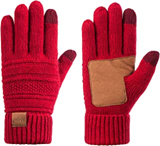 Best Womens Wool Winter Warm Knit Gloves, Touch Screen Thick Thermal Thinsulate Lined Anti-Slip Cable Cuff Driving Gloves Review