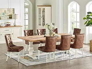 Everhome Designs - Savannah 7 Piece Rustic Oak Two Tone Extension Dining Table Set