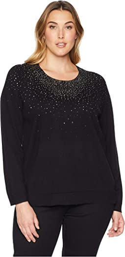 Plus Size Crew Neck w/ Diamond Detail Sweater
