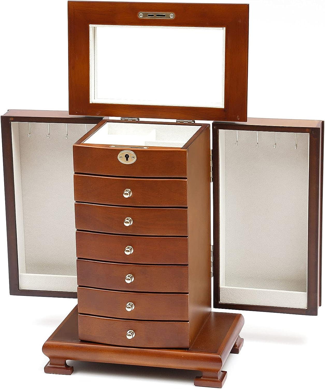 Extra Large 7 Layers Wooden Case Jewelry 人気海外一番 卓越 Arm Cabinet Box