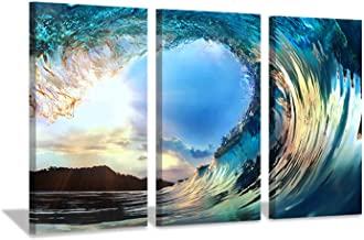 Hardy Gallery Ocean Waves Artwork Canvas Picture: Sunset Seascape Painting Print Art on Canvas for Living Room Office Wall (26'' x 16'' x 3 Panels)
