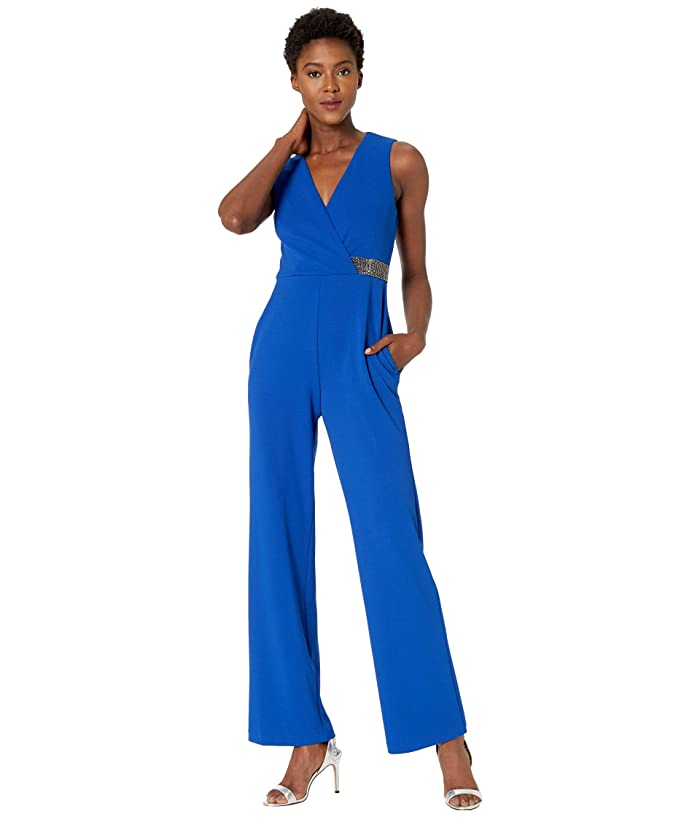 Donna Morgan  Stretch Crepe Sleeveless Faux Wrap with Crystal Detail Jumpsuit (Blue Sapphire) Womens Jumpsuit and Rompers One Piece