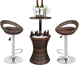 ZENSTYLE Rattan Style Height Adjustable Cool Bar Outdoor Patio Table with Ice Bucket + Swivel Barstool Brown Wicker 360° S...