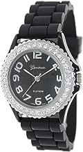 Black Silver Silicone Gel Ceramic Style Band Crystal Bezel Watch