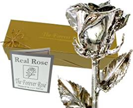 Forever Rose Silver Dipped Real Rose w/Gold Gift Box by The Original USA Brand! (Silver Rose)