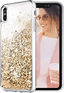 iPhone X Case, Caka iPhone Xs Glitter Case Liquid Series Girls Luxury Fashion Bling Flowing Liquid Floating Sparkle Glitter Cute Soft TPU Case for iPhone X XS (Gold)