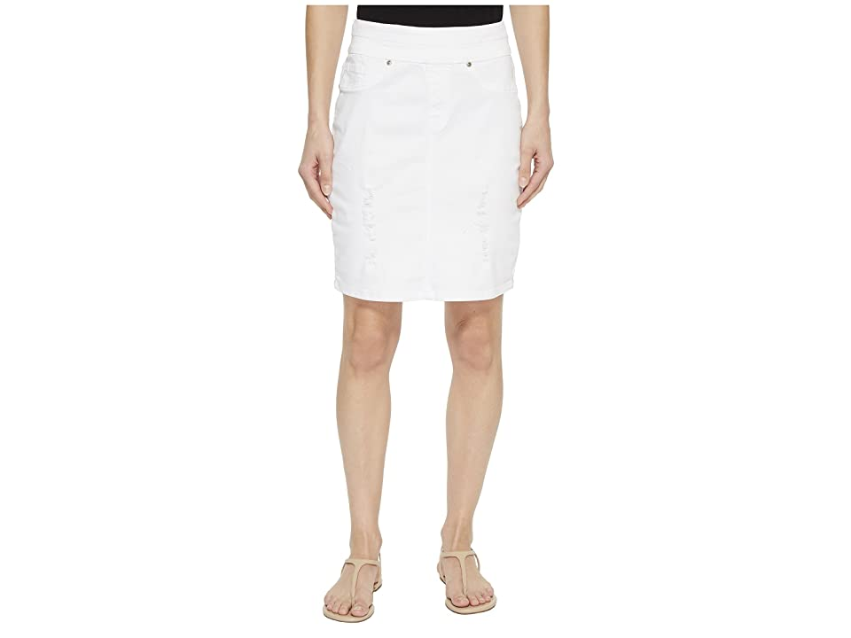 Tribal 19 Stretch Twill Pull-On Distressed Skirt in White (White) Women