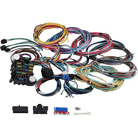 Amazon Com Wmphe 21 Circuit Wiring Harness Long Wires Standalone Wiring Harness Kit 18 Fuses Universal Street Rod Complete Wiring Harness Automotive