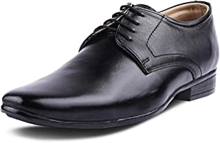 Kanprom Men's Black Genuine Leather Formal Derby Lace-Up Shoes