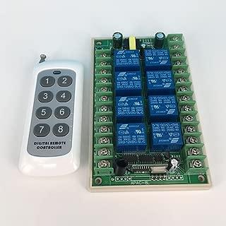Lejin Radio wireless remote control 8 channel relay 110V 230VAC radio receiver garage door gate garage on / off radio controller / radio receiver 10A 4363MHz wireless remote control