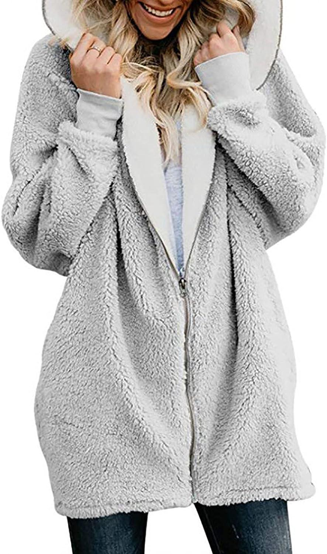 Womens Hooded Cardigans Long Sleeve Solid Oversized Zip Outerwear with Pocket Warm Fuzzy Fleece Winter Coat