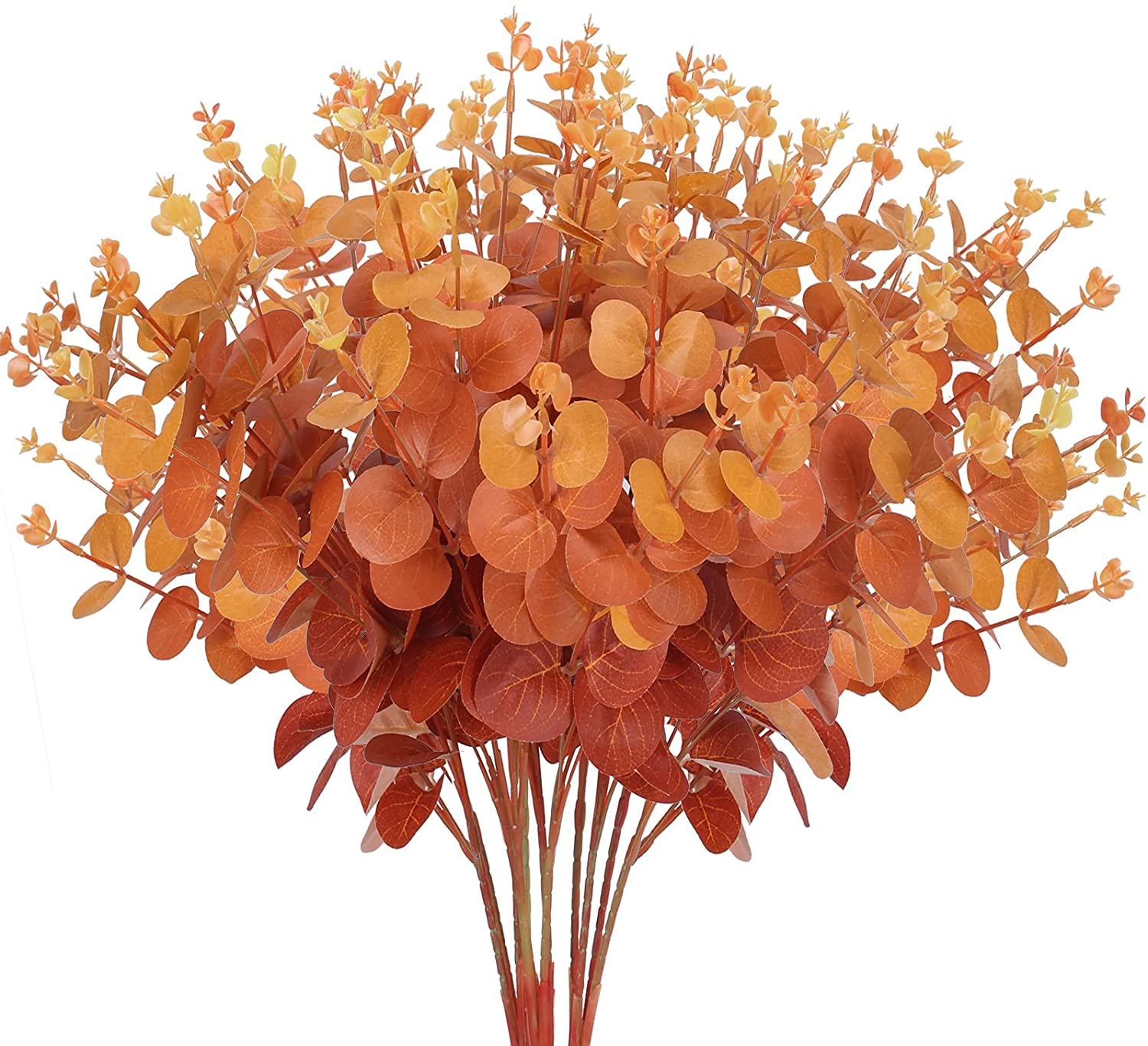 HUAESIN 3Pcs Artificial Eucalyptus Leaves Branches Fake Fall Eucalyptus Plant Faux Autumn Stems for Thanksgiving Halloween Wedding Dining Table Centerpieces Decor