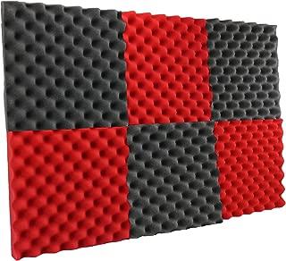 New Level 6 Pack - Red/Charcoal Acoustic Panels Studio Foam Egg Crate 2