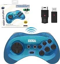 Retro-Bit Official Sega Saturn 2.4 GHz Wireless Controller 8-Button Arcade Pad for Sega Saturn, Sega Genesis Mini, Nintendo Switch, PS3, PC, Mac - Includes 2 Receivers & Storage Case - Clear Blue