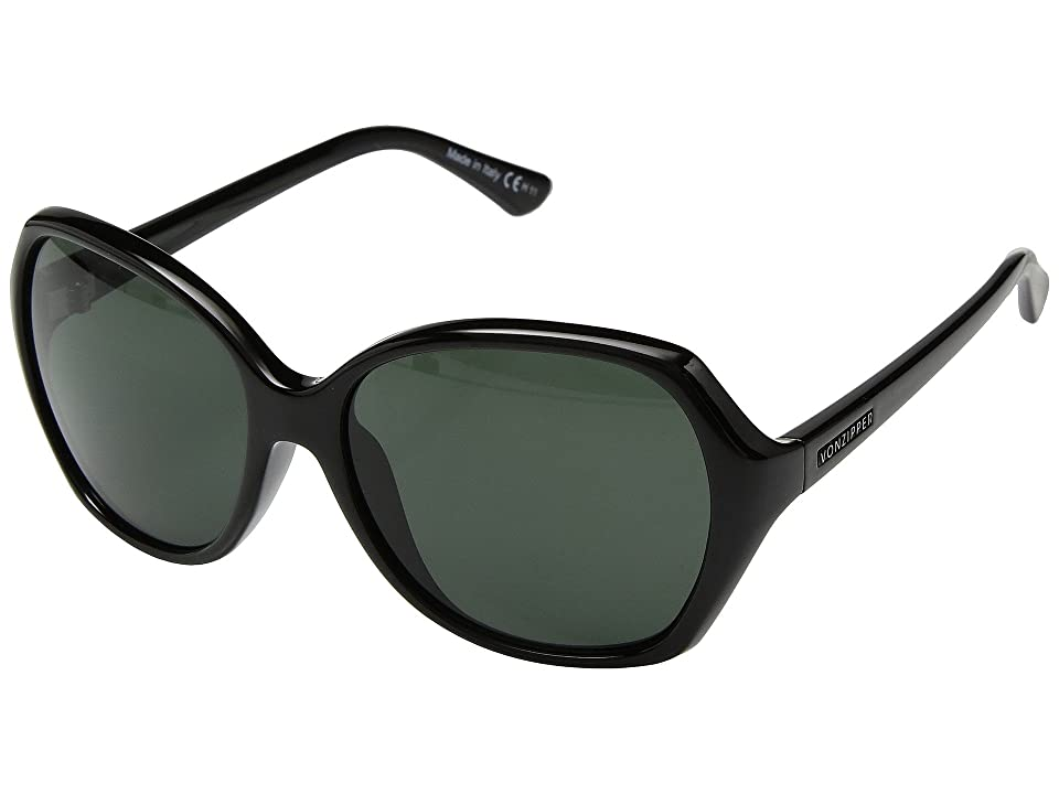 VonZipper Bloomway (Black Gloss/Vintage Grey) Athletic Performance Sport Sunglasses