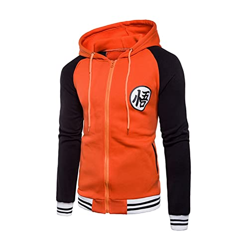 Japanese Anime Dragon Ball Z Goku Symbol Zip Hoodies Sweatshirt Costumes