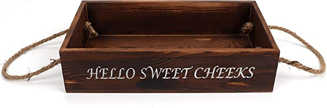 Your New Normal Double Sided Organizer Box for Bathroom – Wooden Box – Nice Butt and Hello Sweet Cheeks Prints – Rustic Wo...