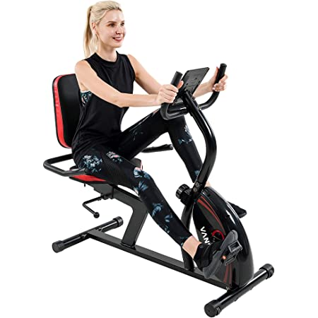 Vanswe Recumbent Exercise Bike 16 Levels Resistance 380 lbs. Recumbent Stationary Bike with Adjustable Seat, Transport Wheels and Bluetooth Connectivity for Seniors Workout