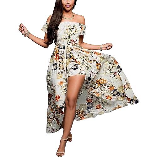42b48693eea BIUBIU Women s Off Shoulder Floral Rayon Party Split Maxi Romper Dress S-3XL